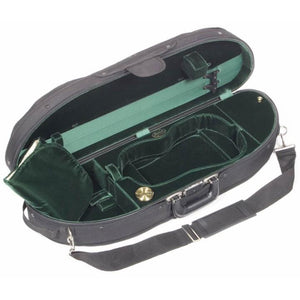 Bobelock 1047 Wooden Half Moon Violin Case Green Velvet