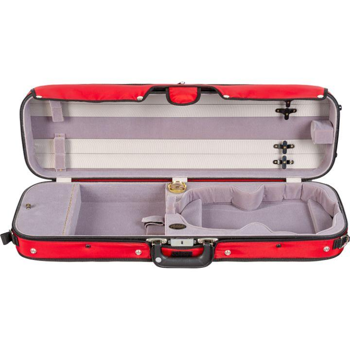Bobelock 16002 Puffy Oblong Suspension Violin Case Red- Interior