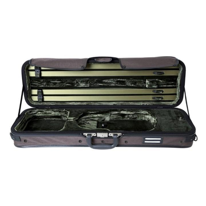 brown green oblong violin case