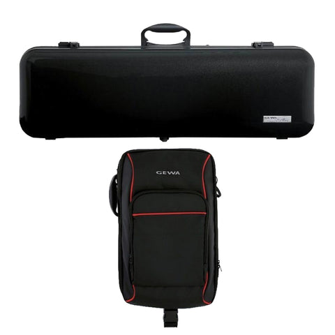 Gewa Air 2.1 Matte Black Oblong Violin Case with Rucksack Bundle