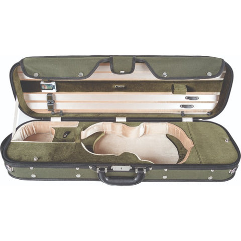 Image of Howard Core CC535 Green Oblong Wooden Violin Case Interior