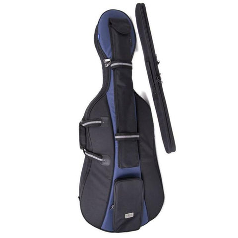 Black/ Blue Jakob Winter Soft Cello Case with bow tube- Front