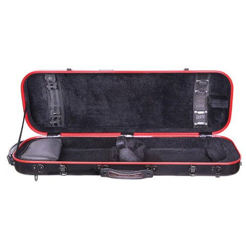 Tonareli Composite Fiberglass Black Violin Case with Red Trim