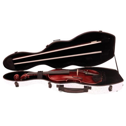 White Speckle Fiberglass Violin Case