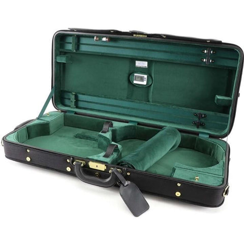 viola and violin case green interior
