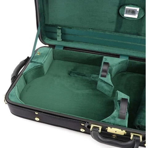 Image of viola and violin case green interior