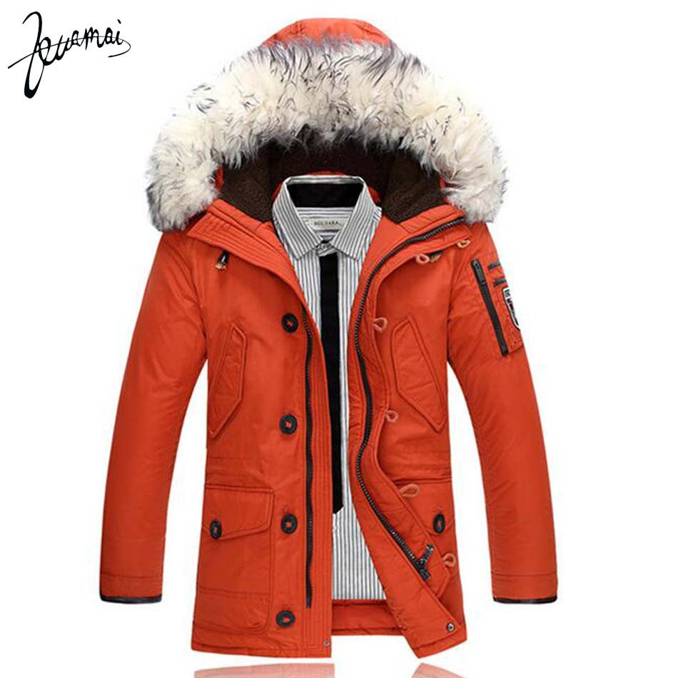 KUAMAI Men Down Jacket Brand Clothing Wool Collar Collar Slim Dress Casual Warm Winter Jacket Men -30 Degrees Down Jacket XXXL