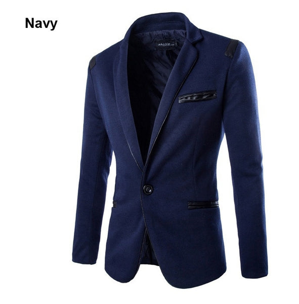 Top Men Blazer  2015 New Arrival One Button Blazer Men Casual Slim Fit Jacket Man Long Sleeve Suits Blazer Masculino