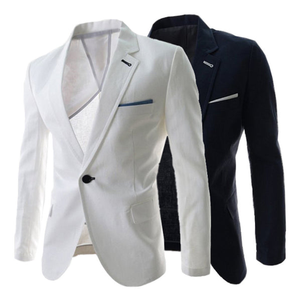 Free Shipping Korean Style 2015 Casual Slim Fit Master Design Men's Single Button Blazer Jacket Suit High Quality Fashion