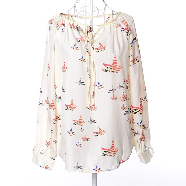 European Style New Print Chiffon Women Blouse Color Pigeon Spring Blouse Free Shipping V-Neck Long Sleeve Drop Shipping Blouse