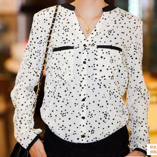Free Shipping 2015 New Summer European Style Blouse Chiffon Leopard & Stars Blouse Drop Shipping Stand Blouse