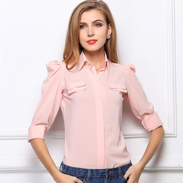 Free Shipping 2015 New Summer European Style Blouse Chiffon Solid Puff Sleeve Blouse Drop Shipping Turn-Down Collar Blouse