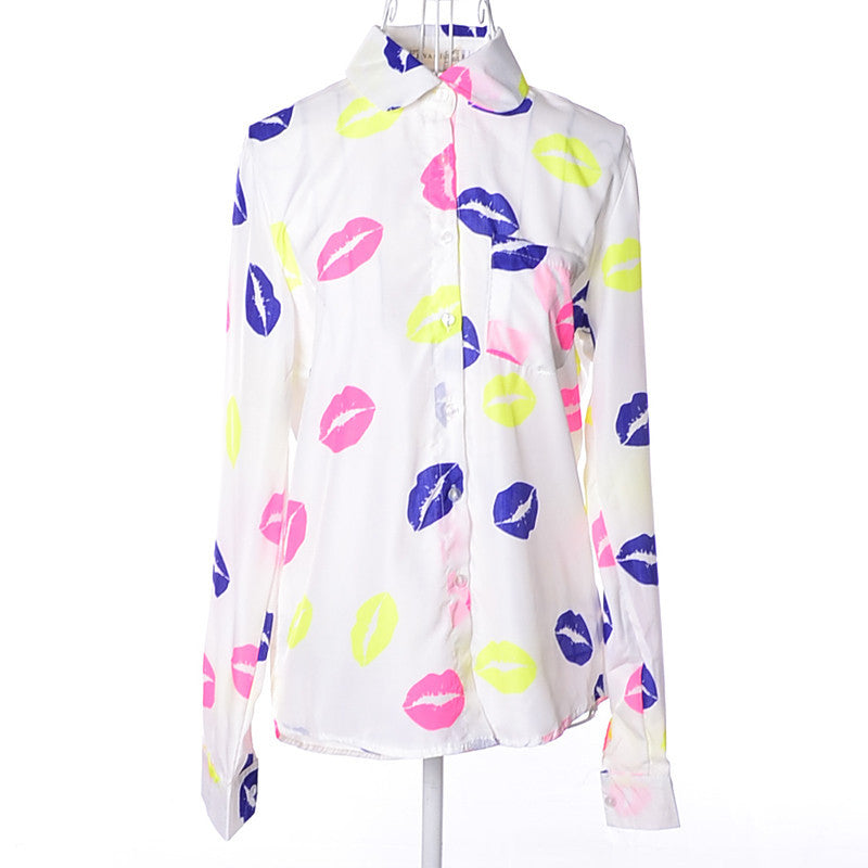 Hot Sale! 2015 Free Shipping New Fashion Lips Printed Long Sleeved Female Shirt Casual Chiffon Slim Blouse