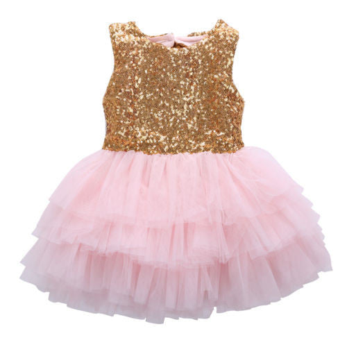 2016 Sleeveless Baby Girl Sequins Dress Bow Lace Tulle Party Gown Formal Backless Party wedding Dresses