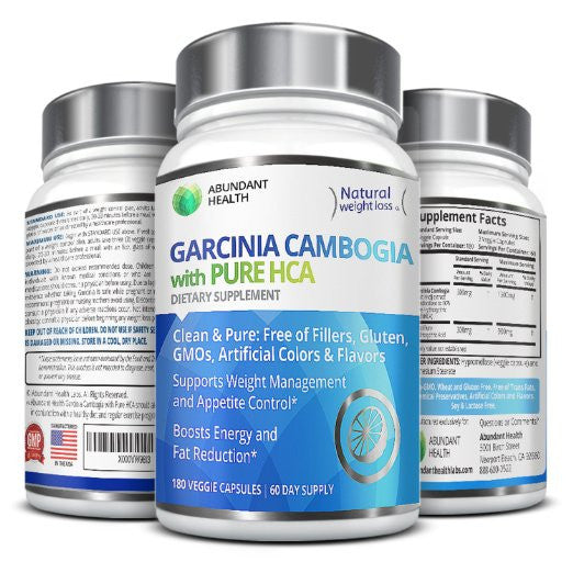 100% Pure Garcinia Cambogia Extract with HCA - 180 Veggie Caps - Natural Appetite Suppressant and Dietary Supplement