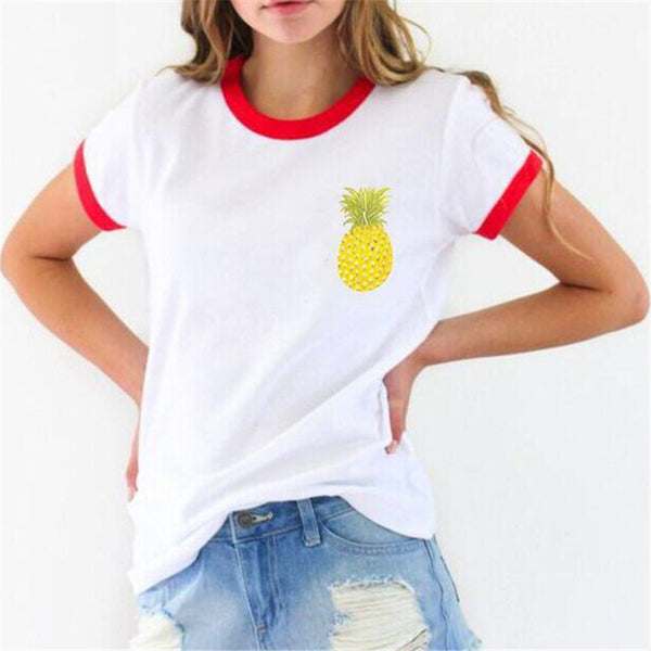 2016 New Fashion Women clothing T shirts Pineapple Print t-shirt Women Top Short Sleeve Female Fruit tops 71621