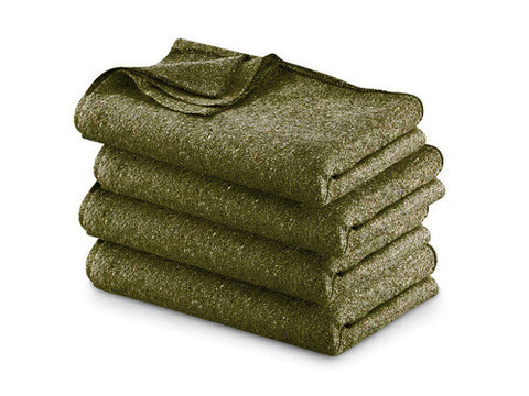 Fire Resistant Wool Military Blanket, Olive Drab - emsexpress.com