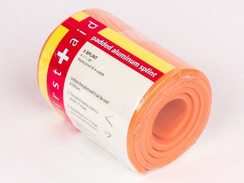 "Padded Aluminum Foam Splint, 36"" x 4.5"", Orange - emsexpress.com"