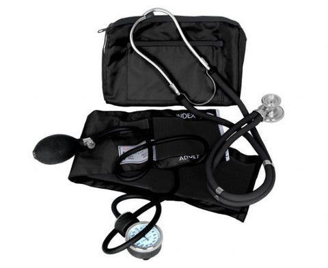 Sphygmomanometer & Sprague-Rappaport Stethoscope Combo Kit - Black - emsexpress.com