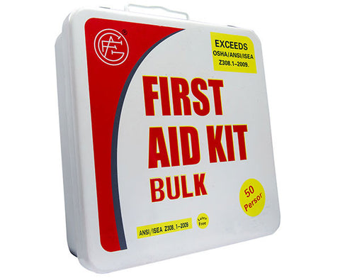 50 Person ANSI/OSHA First Aid Kit, Metal Case - emsexpress.com