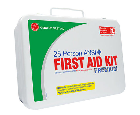 25 Person ANSI/OSHA First Aid Kit, Weather Proof Metal Case PREMIUM - emsexpress.com