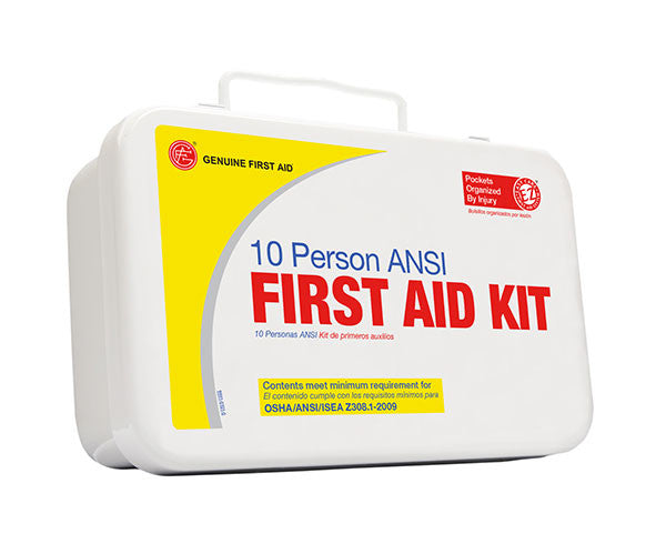 10 Person ANSI/OSHA First Aid Kit, Weather Proof Metal Case - emsexpress.com