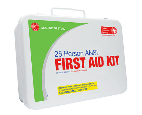 25 Person ANSI/OSHA First Aid Kit, Weather Proof Metal Case - emsexpress.com