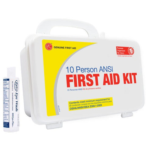10 Person ANSI/OSHA First Aid Kit, Plastic Case W/Eyewash - emsexpress.com