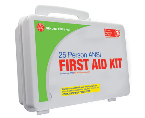 25 Person ANSI/OSHA First Aid Kit, Weather Proof Plastic Case W/Eyewash - emsexpress.com