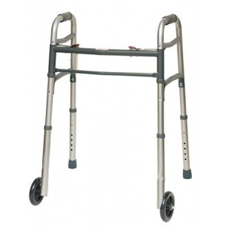 "Heavy Duty Deluxe 2 Button Folding Walker w/ 5"" Wheels - emsexpress.com"