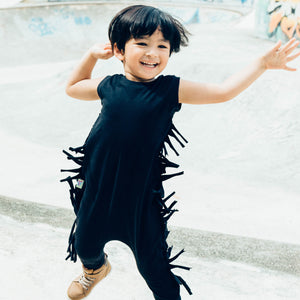 Black Star Fringe Romper