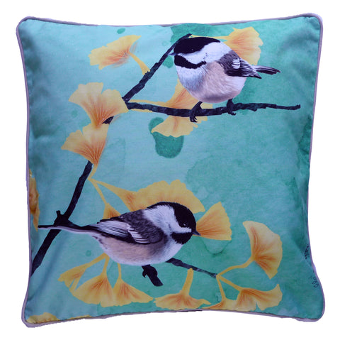 Blue background cushion with gingko branches and chickadees. Unique design for home or cottage. Ornithology. Bird lover gift. Garden gift.