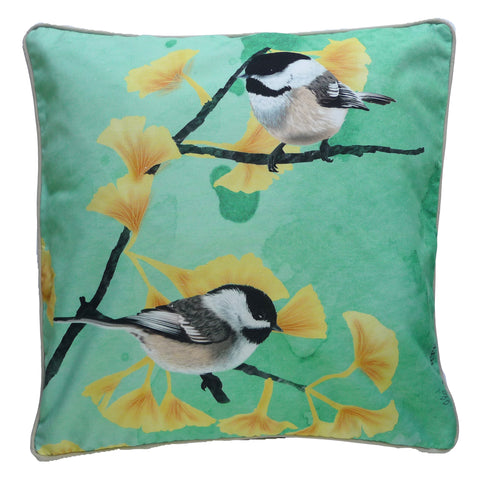 mint green chickadees on ginkgo branch. eco-friendly, small batch production. digitally printed on soft, durable organic cotton.