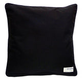 Black organic cotton decorative throw pillow back. Washable, family-tested decor