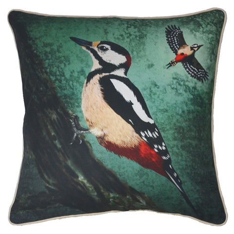 original Pileated woodpecker artwork by Myrte on organic cotton. Rich teal and mint green accent for your sofa.