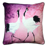 Pink Decorative Throw Pillow with Black and White Dancing Cranes Organic Cotton Asian Interior Mating Ritual