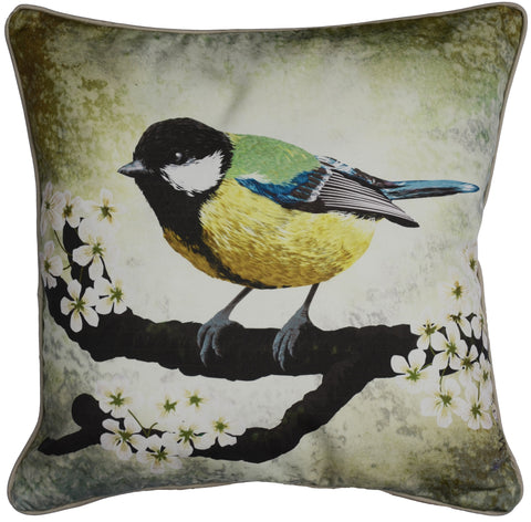 Traditional bird pillow in soft greens and floral branches. The Great Tit illustration by Myrte. Cushion accent for livingroom or bedroom. Luxury colours like a painting.