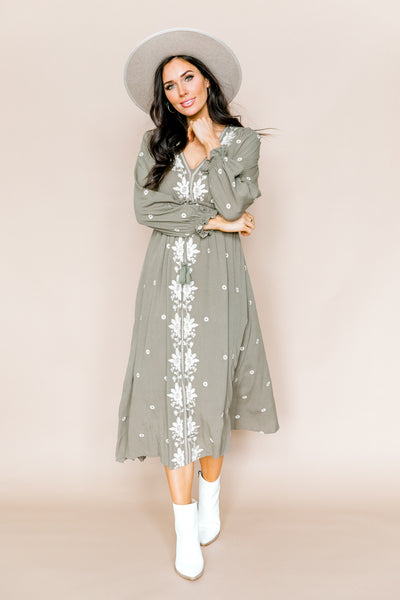 Mia Embroidered Dress in Olive