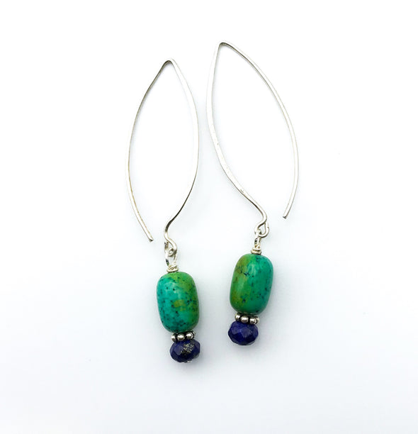 Oval Earring - Turquoise and Lapis