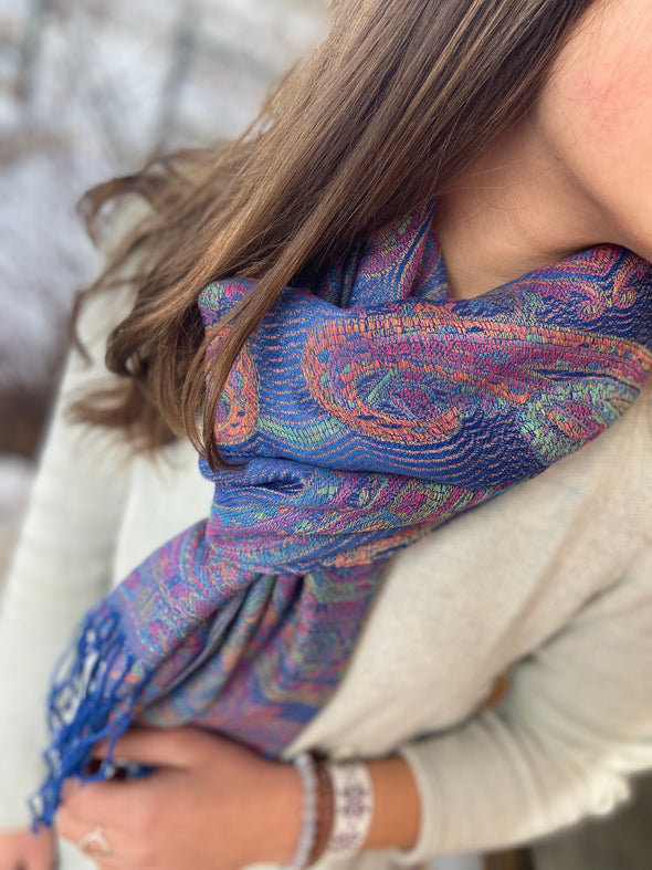 wool and silk blend paisley pattern woven scarf blue pink green