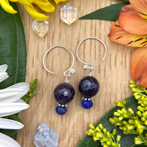 Thai Silver Round Earring - Amethyst and Lapis