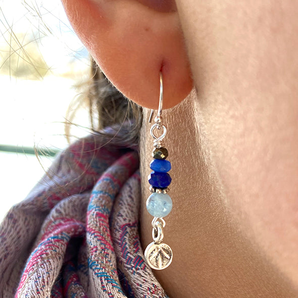 Delicate Sterling Silver Earring with Thai Silver Charm - Lotus Bud