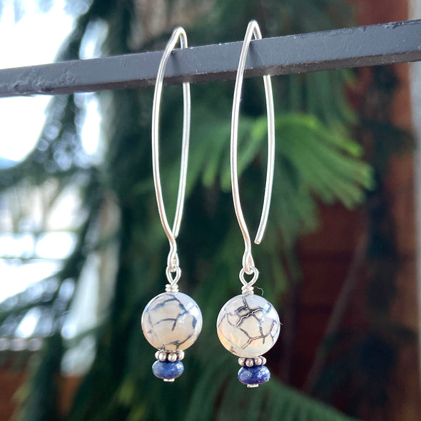 Thai Silver Oval Earring - Agate and Lapis