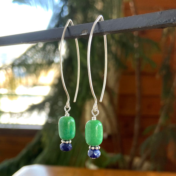 Thai Silver Oval Earring - Turquoise and Lapis