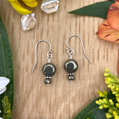 Delicate Sterling Silver Earring - Pyrite