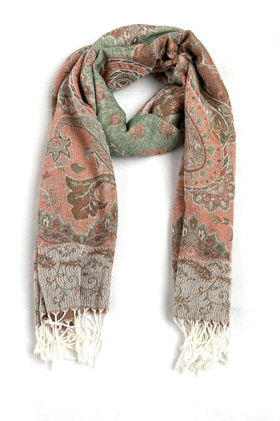 wool and silk blend paisley pattern scarf mineral color orange bronze green white
