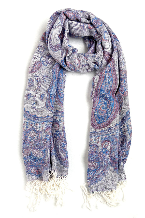 wool and silk paisley scarf blue red white color