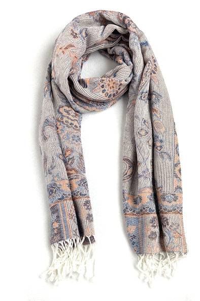 wool and silk paisley woven scarf white blue coral