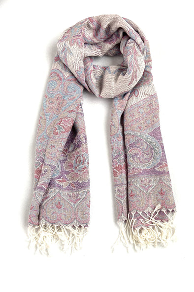 wool and silk paisley woven scarf lavender blue grey red color