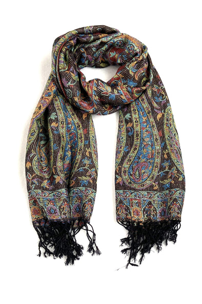 Woven Wool and Silk Blend Scarf in Paisley Pattern Black Pink Green Blue Gold